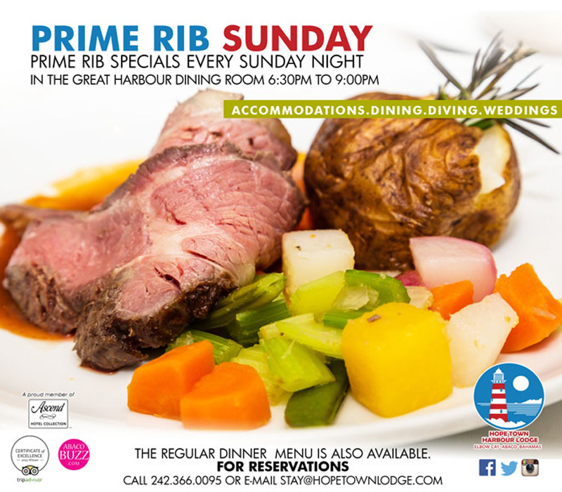 Prime Rib Sunday Hosted by Hope Town Harbour Lodge